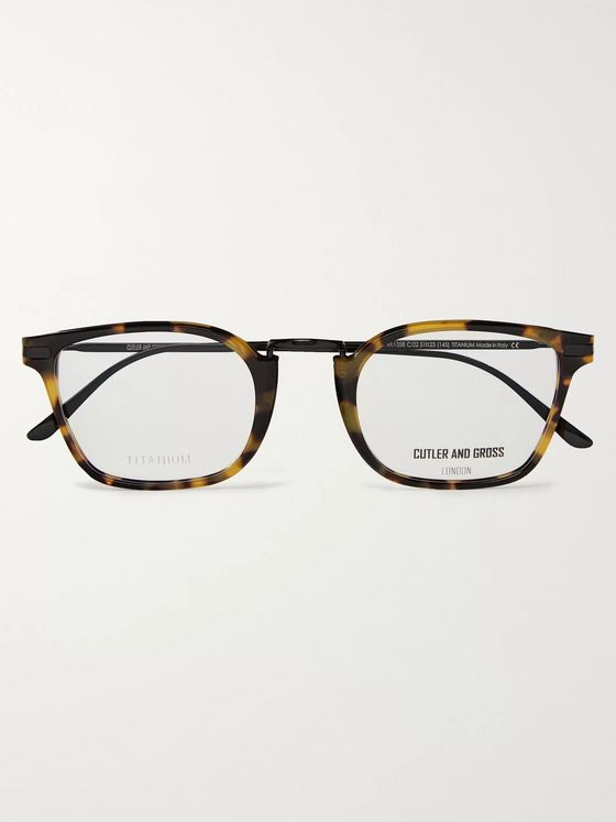 Cutler and Gross Square-Frame Tortoiseshell Acetate and Titanium Optical Glasses