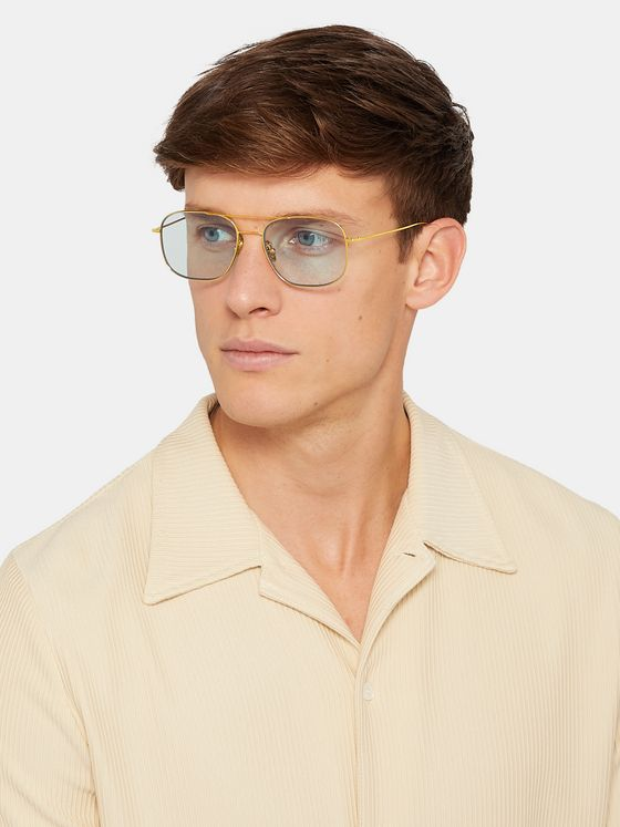 Cutler and Gross Aviator-Style Gold-Plated Sunglasses