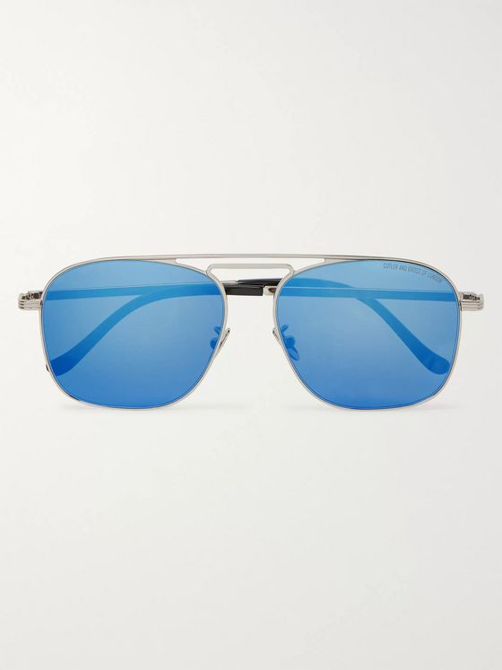 Cutler and Gross Aviator-Style Palladium-Plated Mirrored Sunglasses