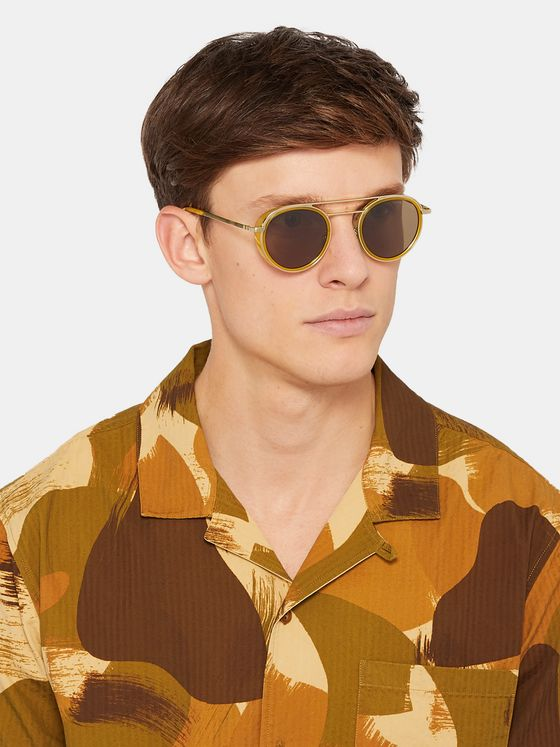 Cutler and Gross Aviator-Style Acetate and Gold-Tone Sunglasses
