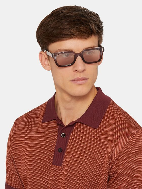 Cutler and Gross Rectangle-Frame Acetate Sunglasses