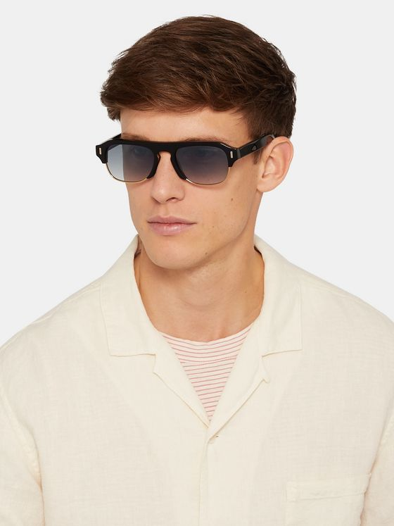 Cutler and Gross D-Frame Acetate and Gold-Tone Sunglasses