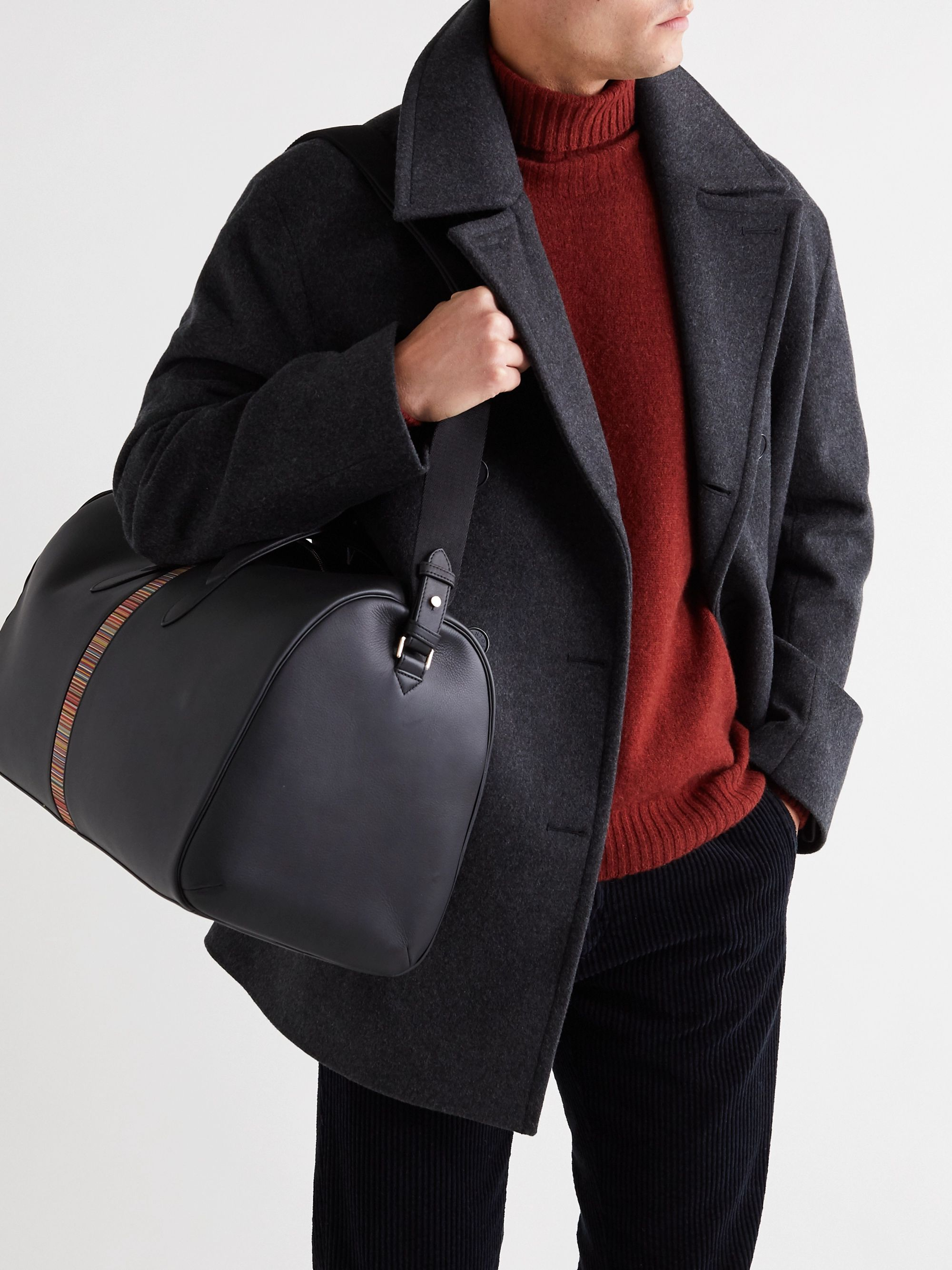 Paul Smith Stripe-Trimmed Full-Grain Leather Holdall