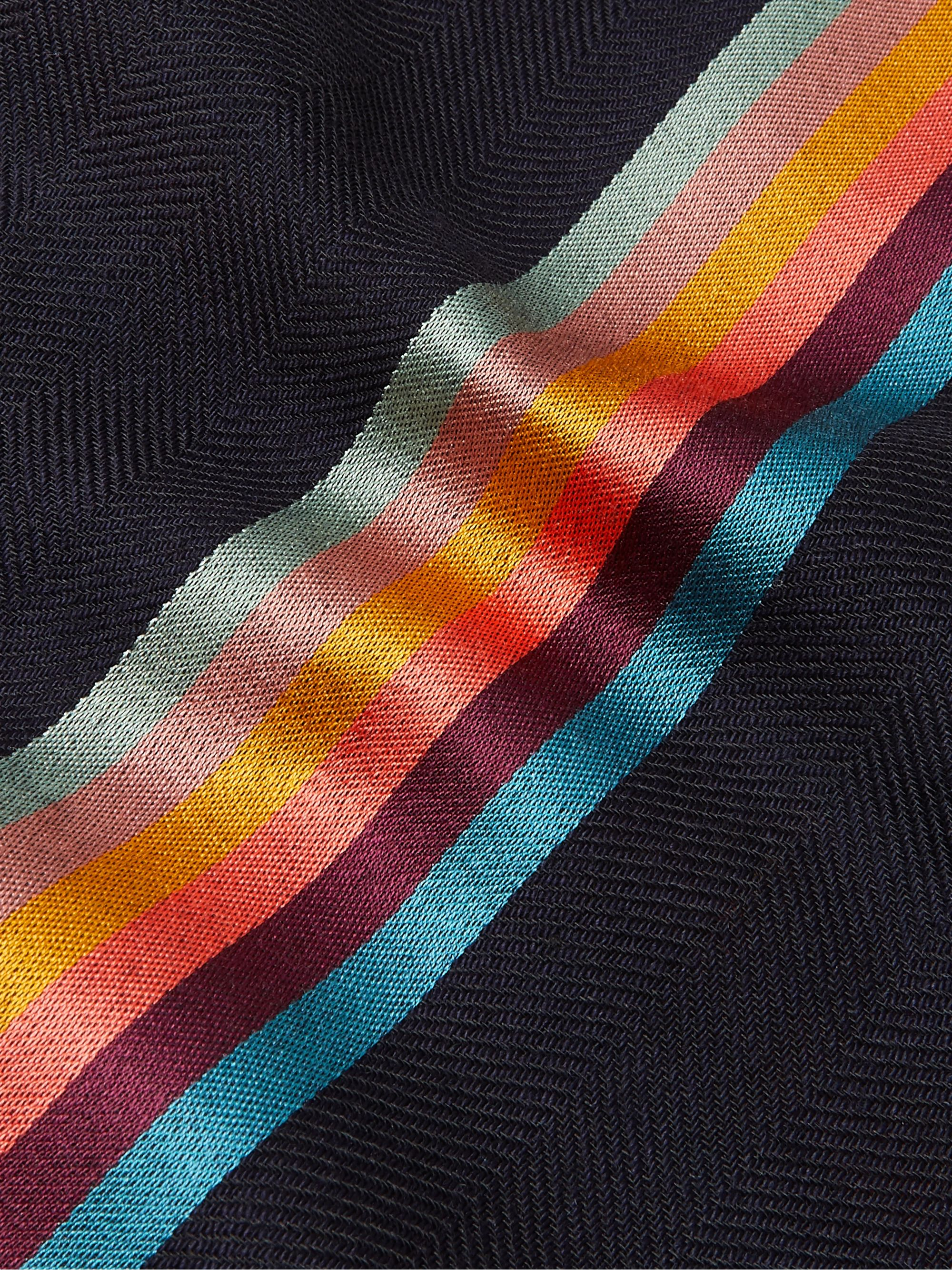 Paul Smith Striped Virgin Wool and Silk-Blend Herringbone Scarf