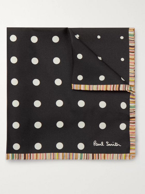 Paul Smith Contrast-Tipped Polka-Dot Silk-Twill Pocket Square