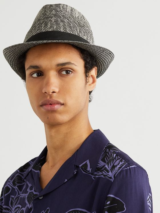 Paul Smith Grosgrain-Trimmed Two-Tone Straw Trilby Hat