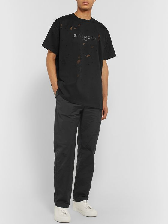 Givenchy Oversized Distressed Logo-Print Cotton-Jersey T-Shirt