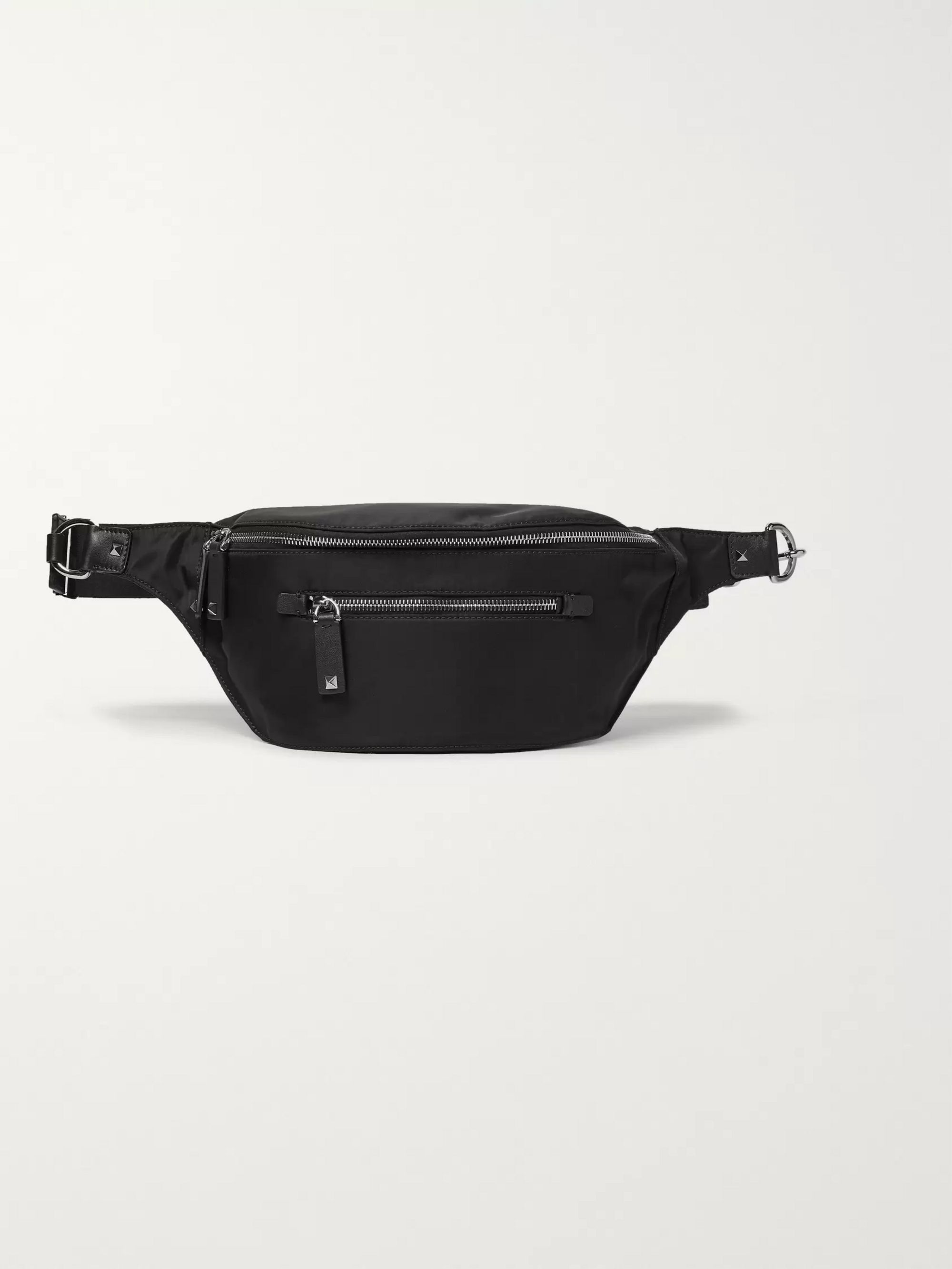 Valentino Valentino Garavani Leather-Trimmed Shell Belt Bag