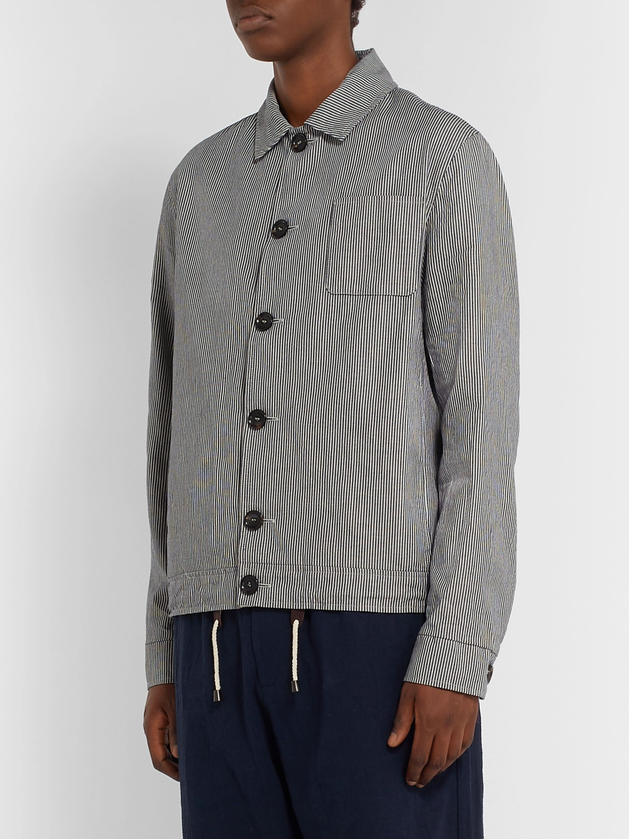 Oliver Spencer Buckland Striped Organic Cotton Jacket