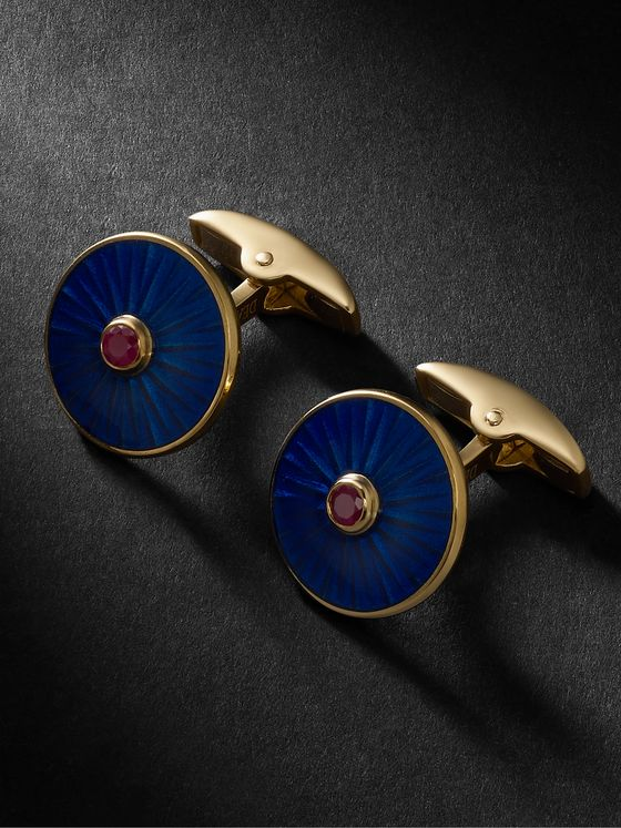 Deakin & Francis 18-Karat Gold, Ruby and Enamel Cufflinks