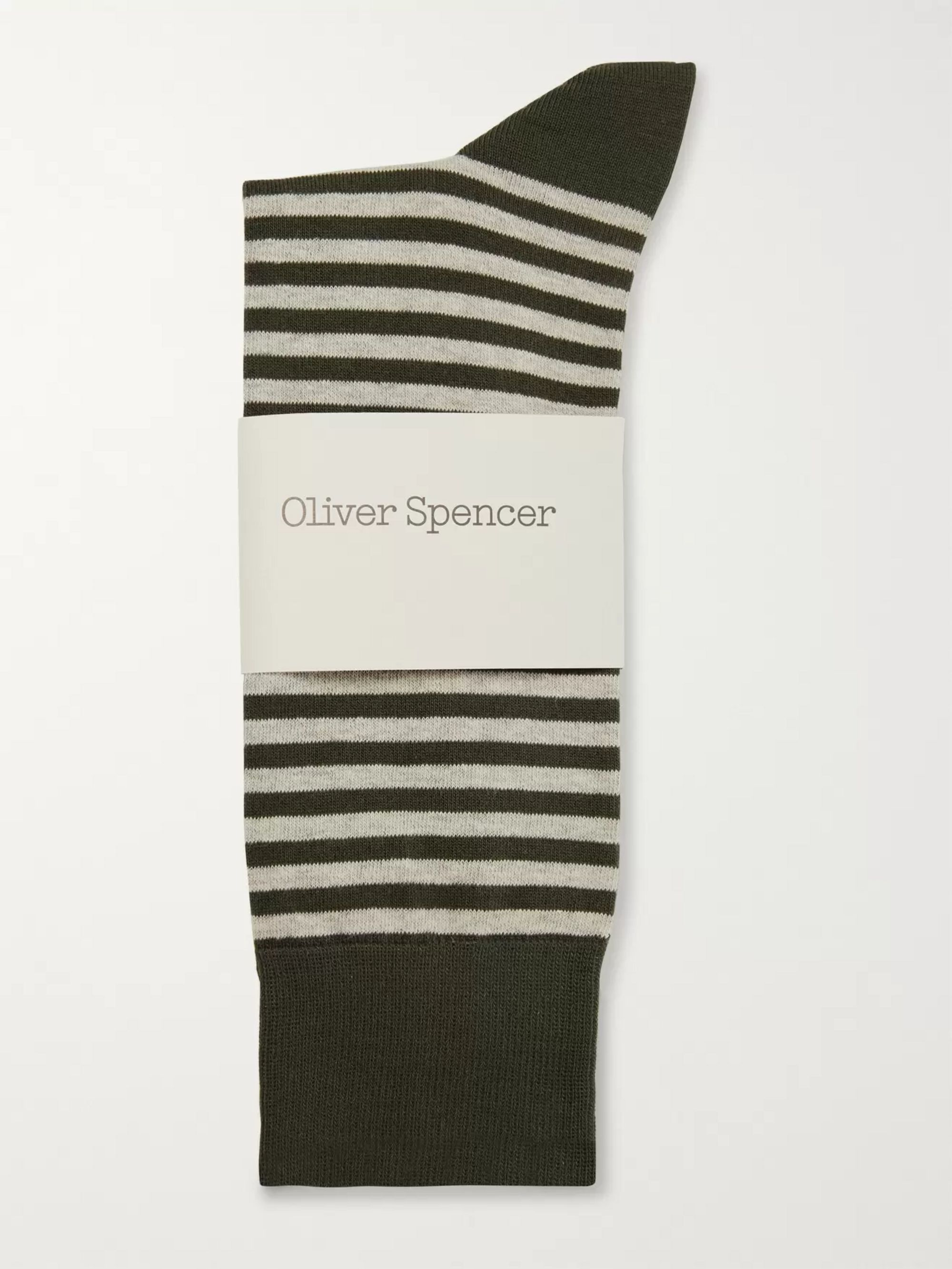 Oliver Spencer Loungewear Striped Stretch Cotton-Blend Socks