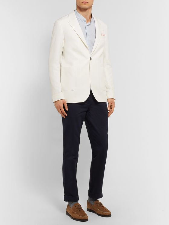 Oliver Spencer Ivory Brookes Unstructured Slim-Fit Herringbone Cotton and Linen-Blend Blazer