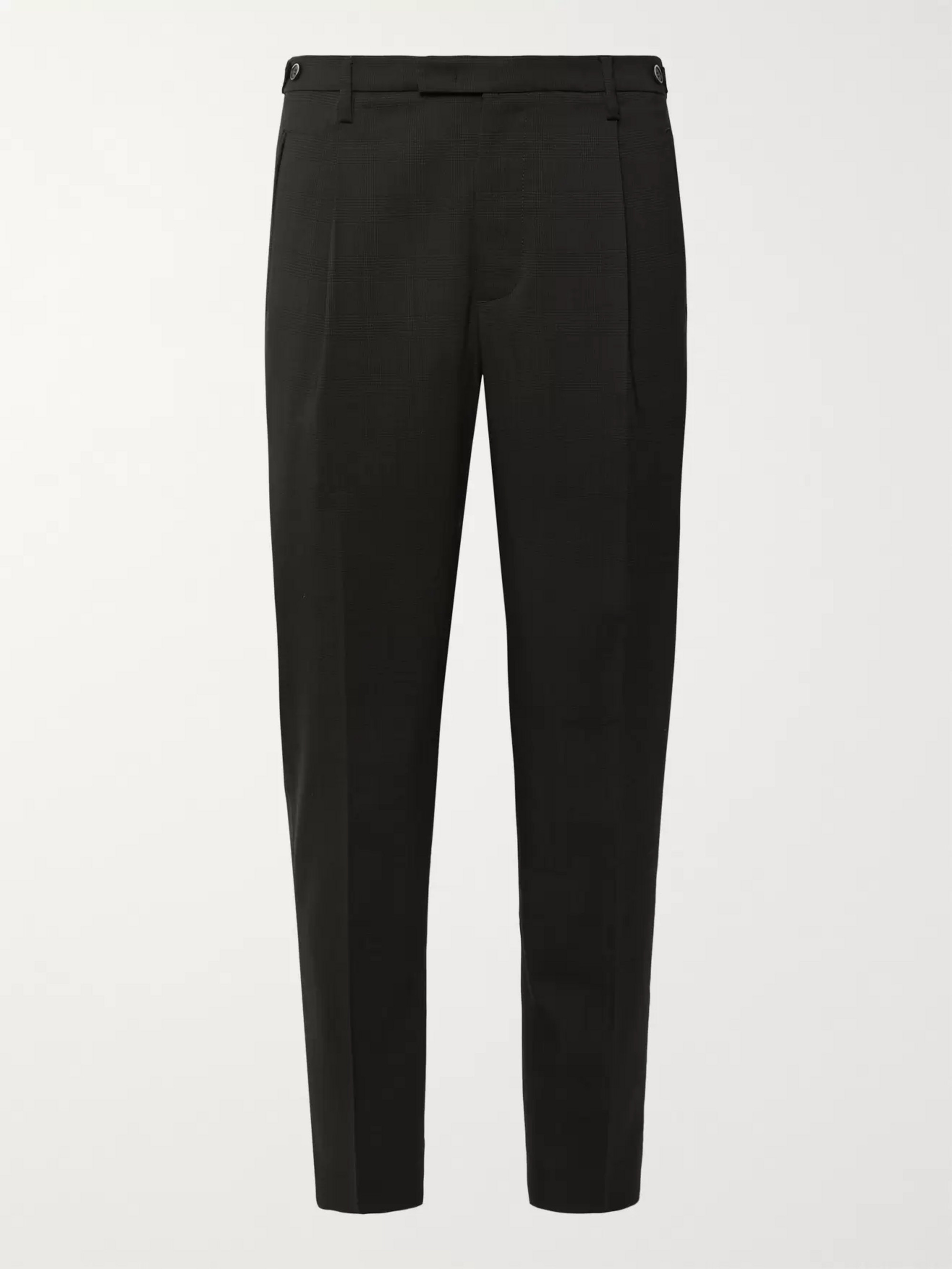 Barena Charcoal Tapered Pleated Prince of Wales Checked Stretch-Virgin Wool Suit Trousers