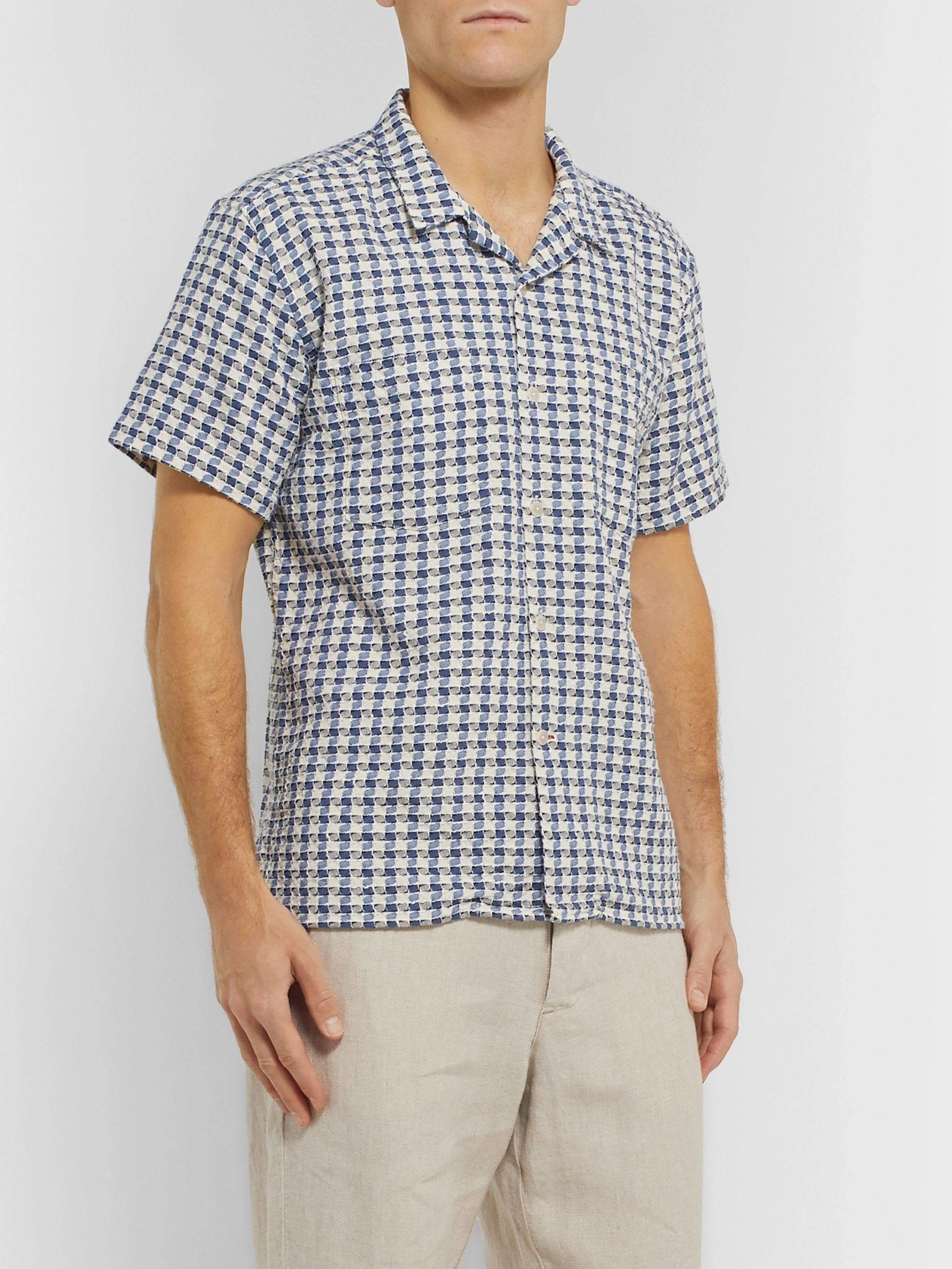 Oliver Spencer Ebley Camp-Collar Checked Woven Cotton Shirt