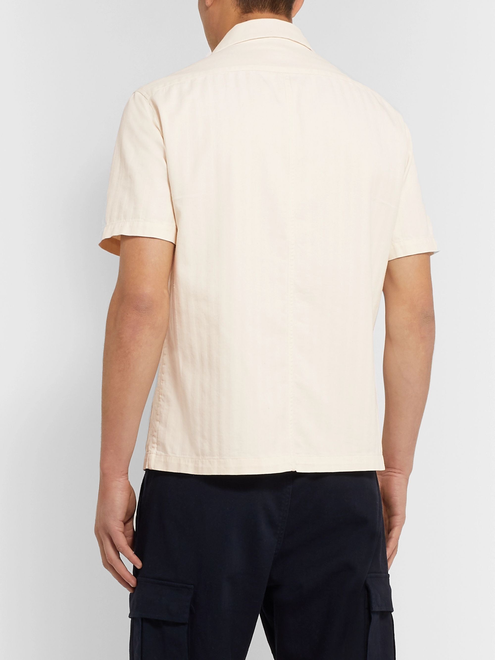 Barena Camp-Collar Herringbone Cotton Shirt