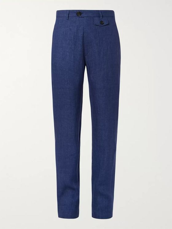 Oliver Spencer Navy Fishtail Linen Trousers