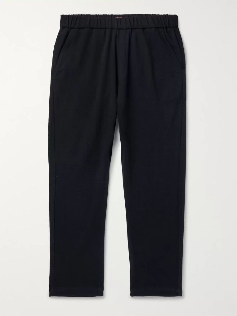 Barena Navy Tapered Stretch-Virgin Wool Drawstring Trousers