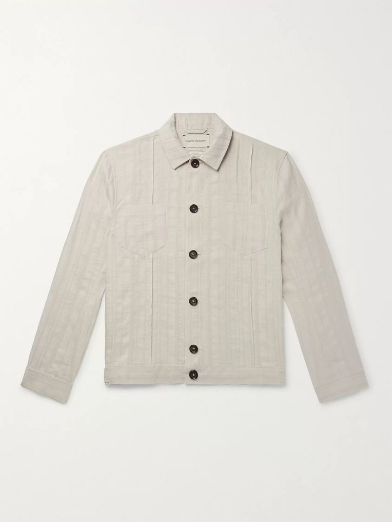 Oliver Spencer Beckford Striped Linen and Cotton-Blend Jacquard Jacket