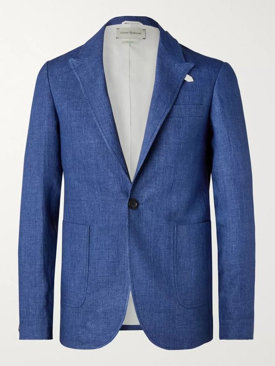 Oliver Spencer Navy Brookes Slim-Fit Unstructured Linen Blazer