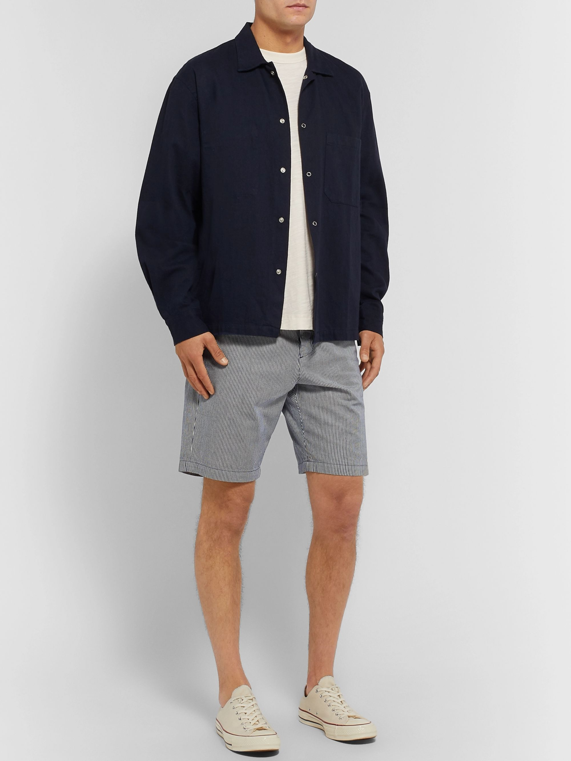 Oliver Spencer Striped Organic Cotton Shorts