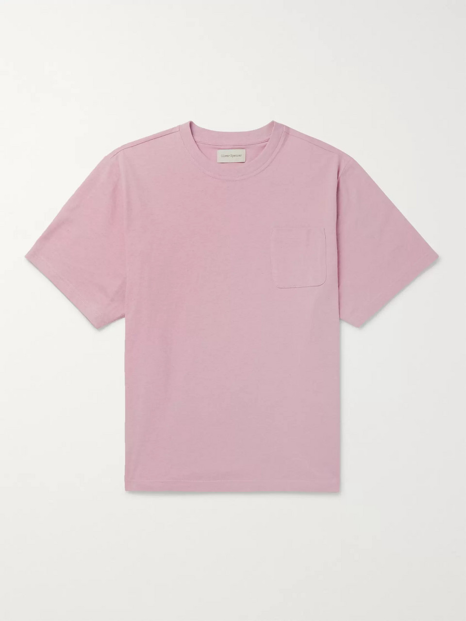 Oliver Spencer Warren Grosgrain-Trimmed Mélange Cotton-Jersey T-Shirt