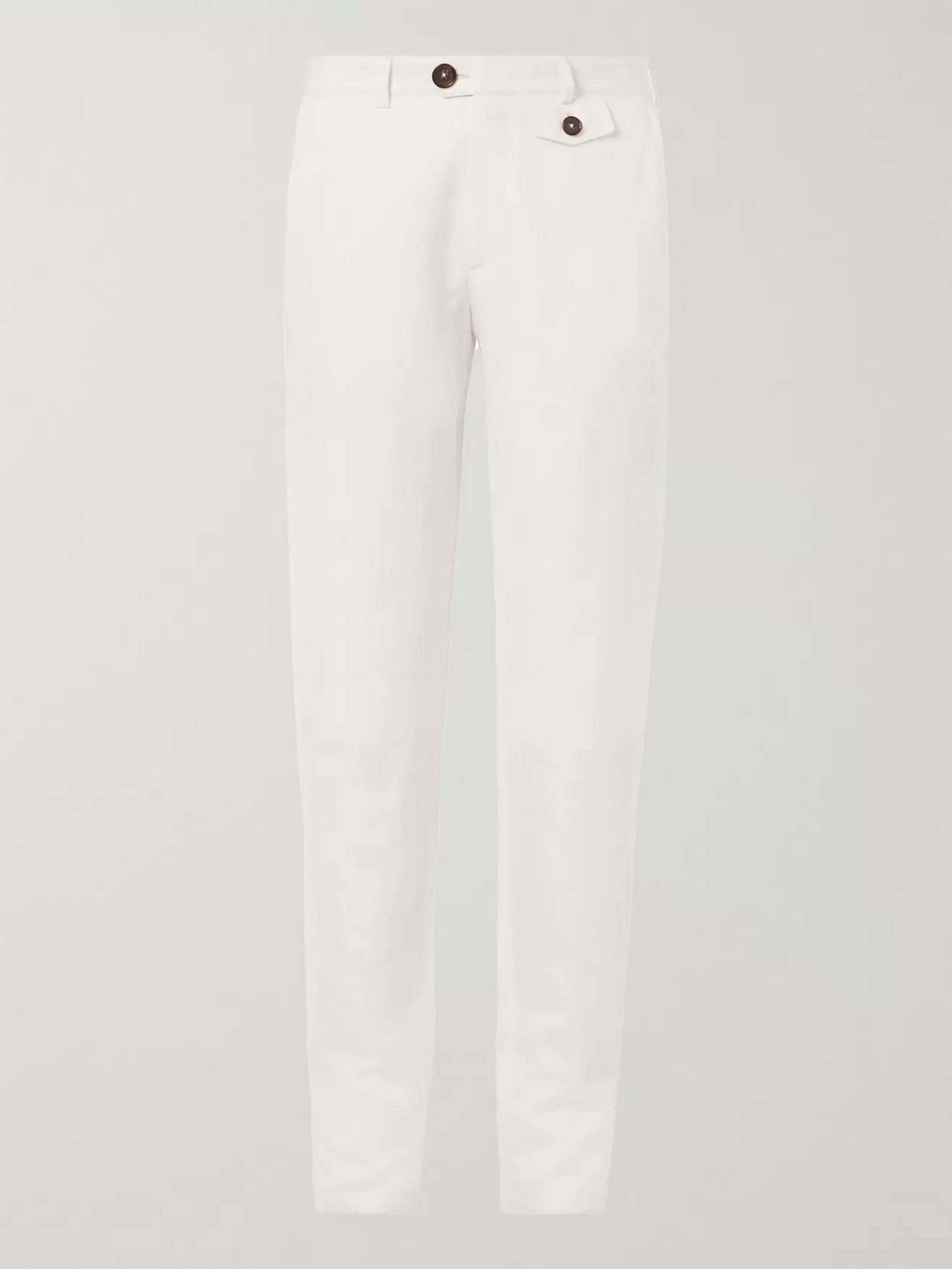 Oliver Spencer Fishtail Herringbone Organic Cotton and Linen-Blend Trousers