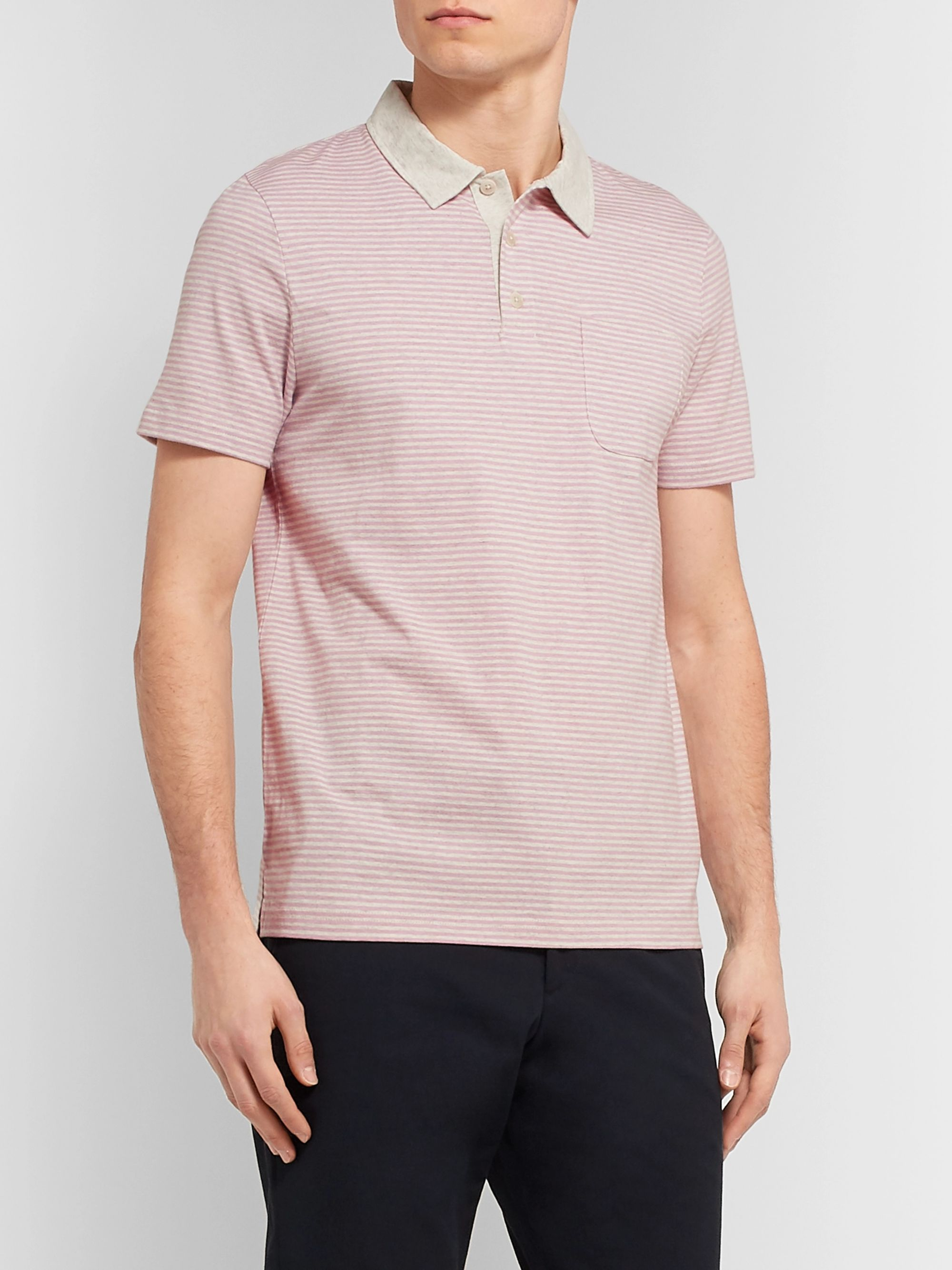 Oliver Spencer Danbury Striped Mélange Cotton-Jersey Polo Shirt