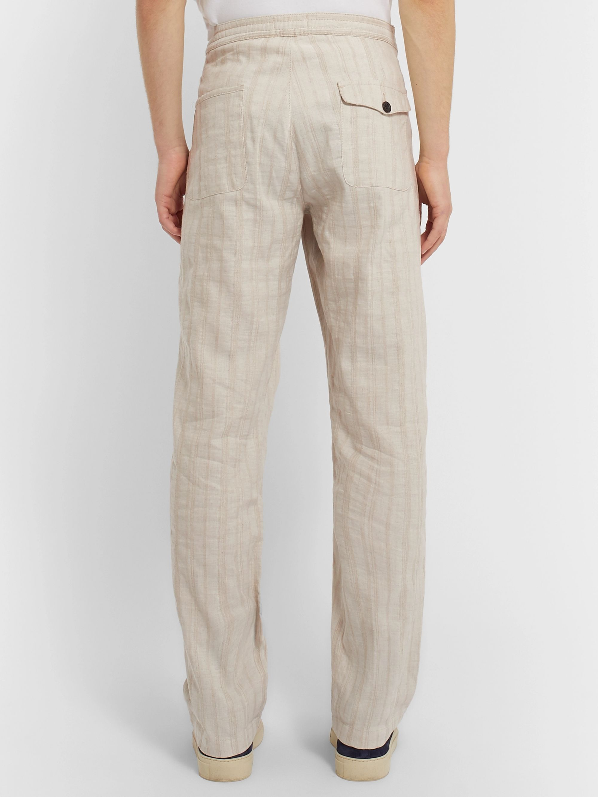 Oliver Spencer Beckford Striped Linen and Cotton-Blend Jacquard Trousers