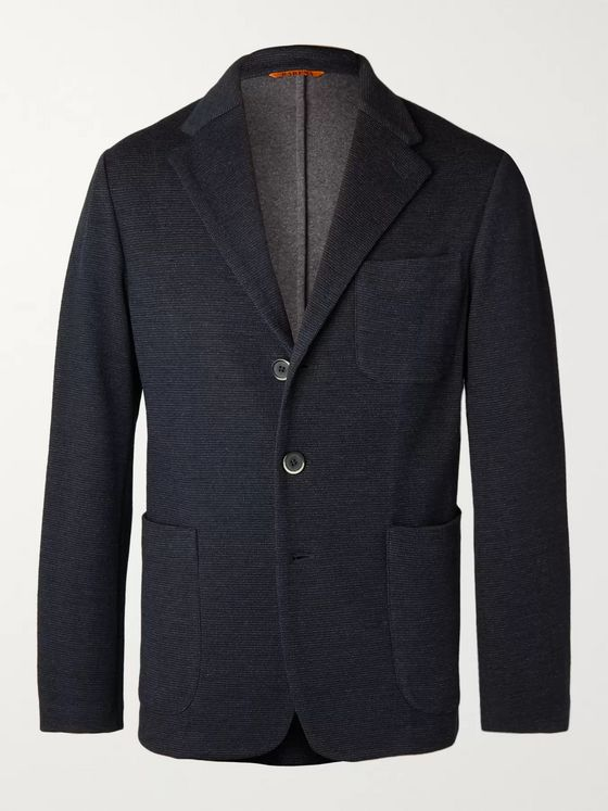 Barena Midnight-Blue Slim-Fit Unstructured Cotton-Blend Jersey Blazer