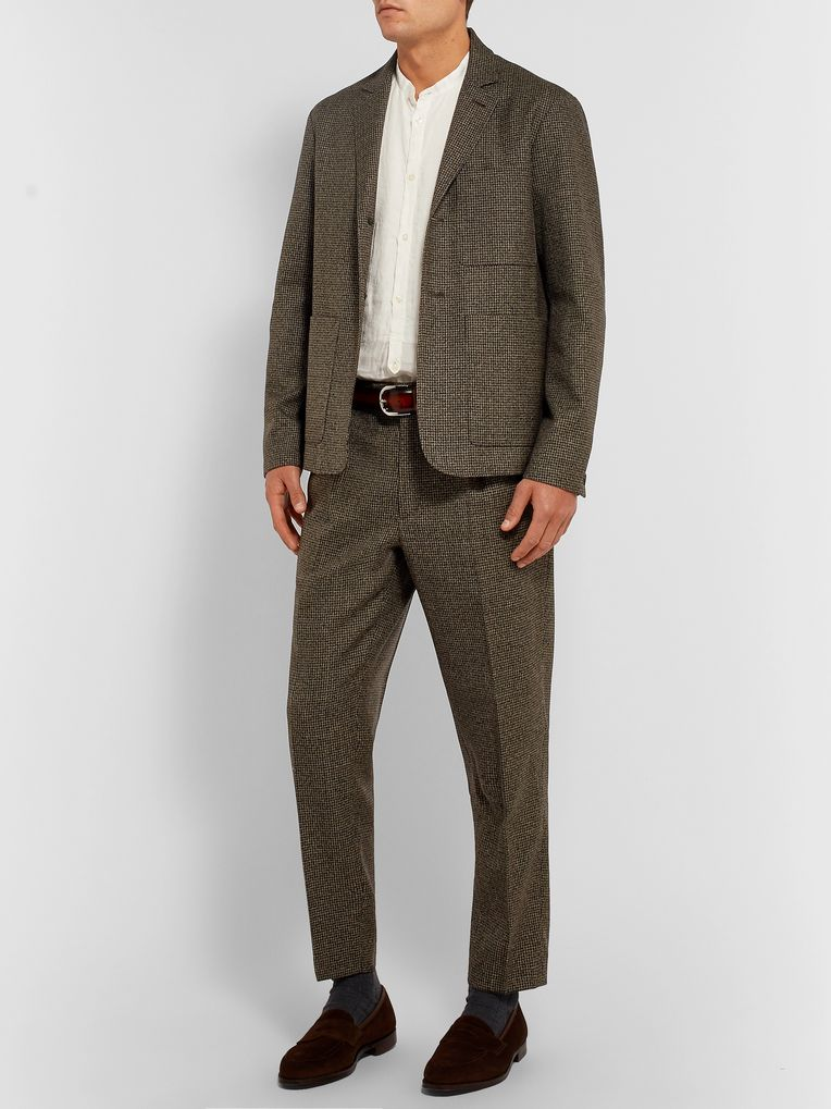 Barena Brown Unstructured Puppytooth Wool Suit Jacket