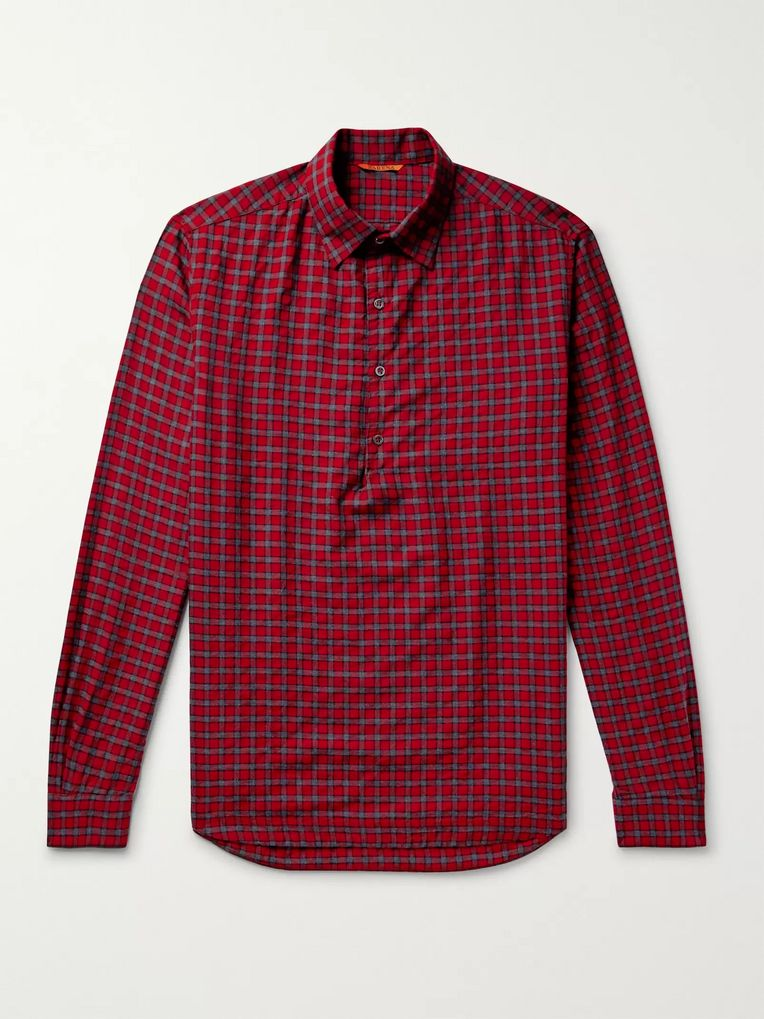 Barena Checked Cotton-Blend Twill Half-Placket Shirt