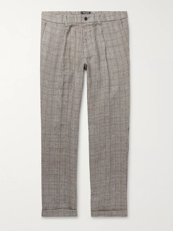 Todd Snyder Grey Slim-Fit Checked Linen Trousers
