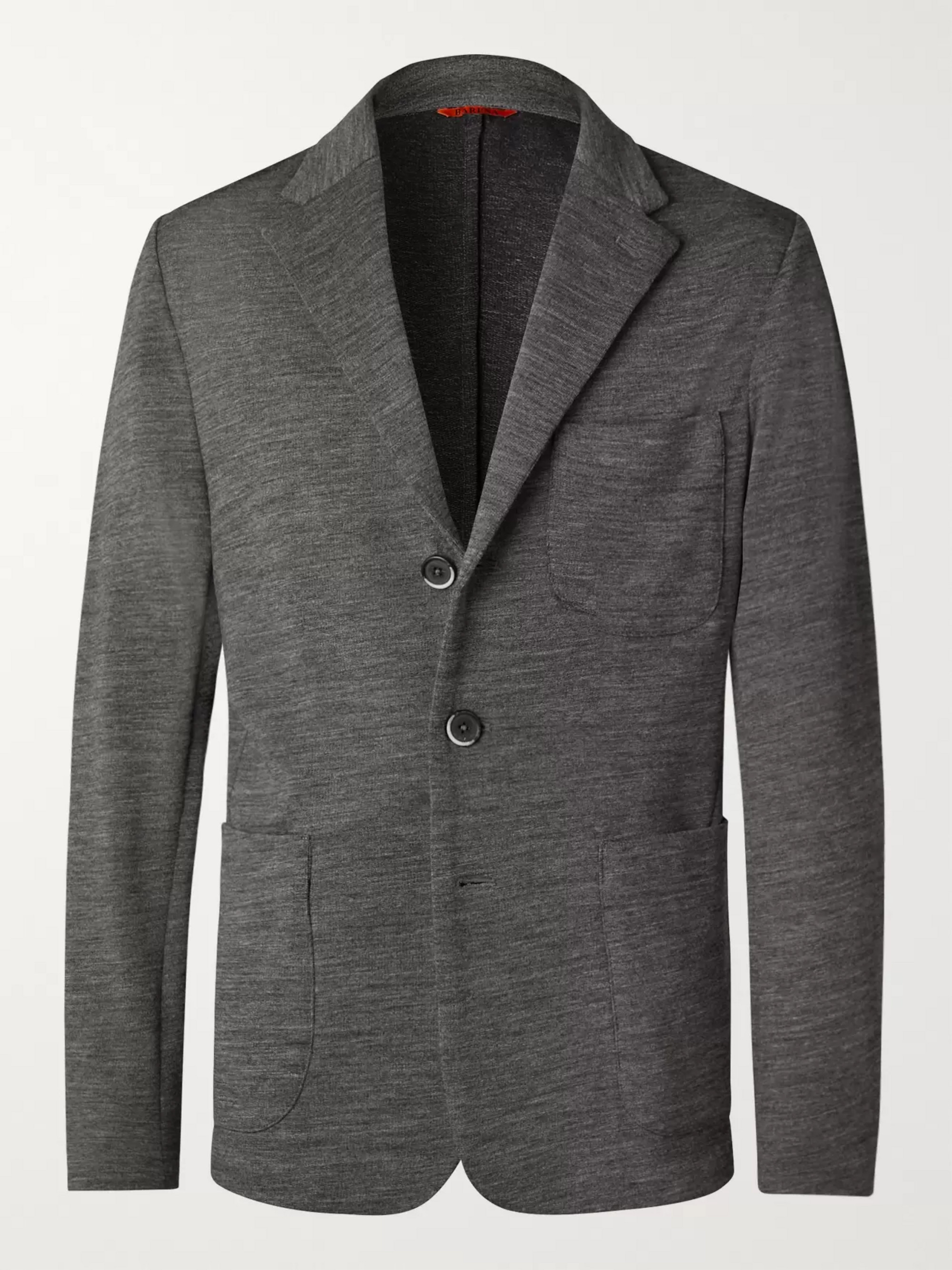 Barena Grey Unstructured Mélange Wool-Blend Jersey Blazer