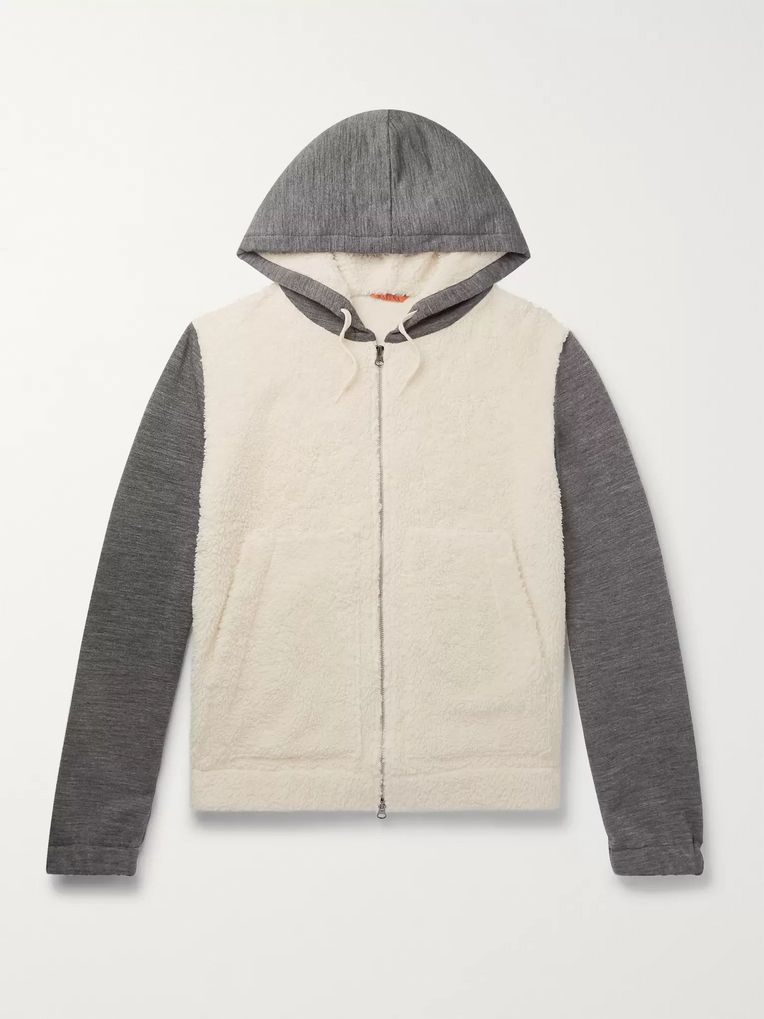 Barena Cotton-Blend Fleece and Mélange Wool-Blend Zip-Up Hoodie