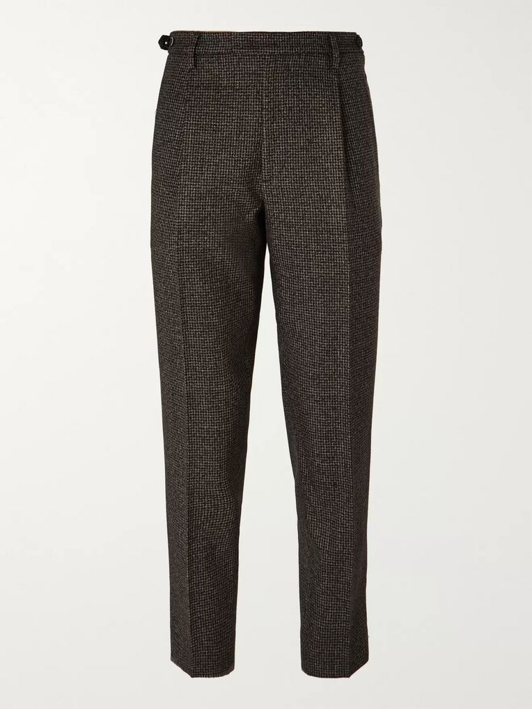 Barena Brown Tapered Cropped Puppytooth Wool Suit Trousers