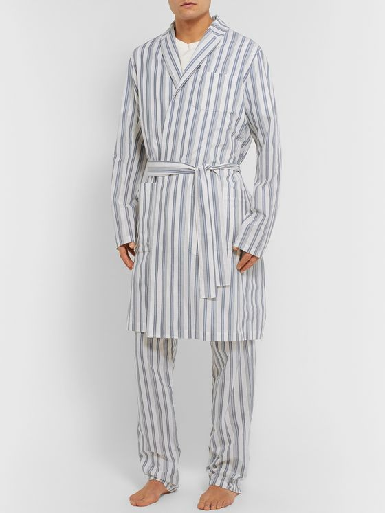 Oliver Spencer Loungewear Striped Organic Cotton Robe