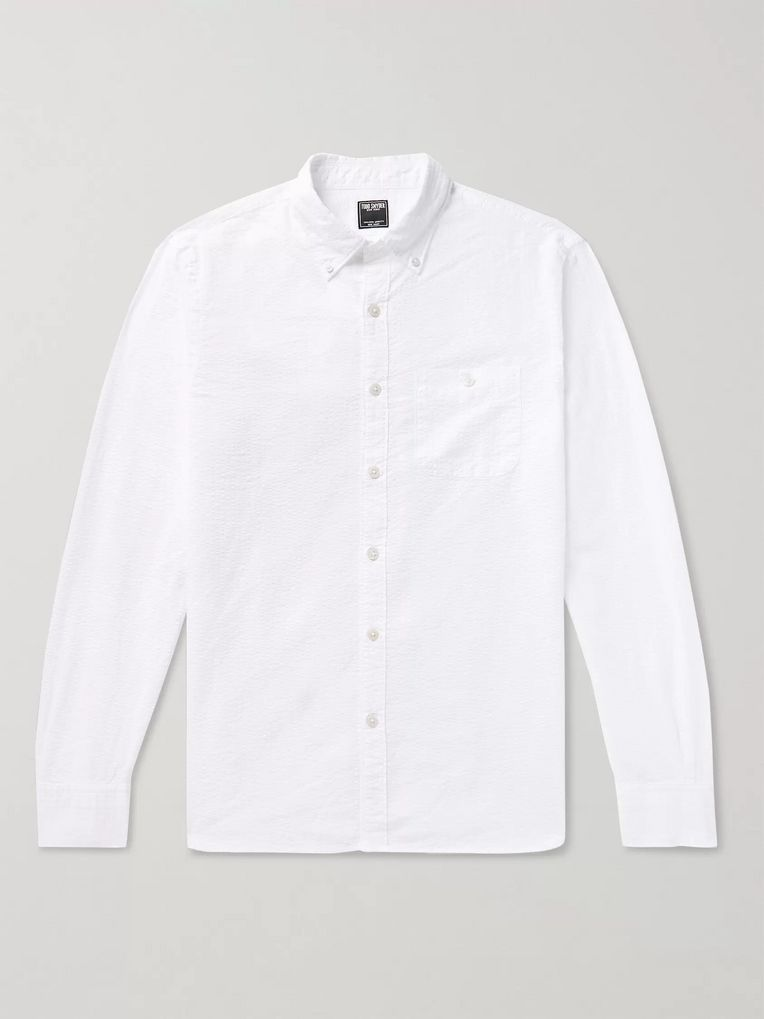 Todd Snyder Slim-Fit Button-Down Collar Striped Cotton-Seersucker Shirt