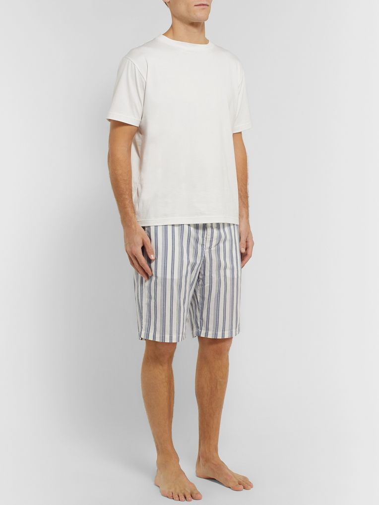 Oliver Spencer Loungewear Striped Organic Cotton Pyjama Shorts