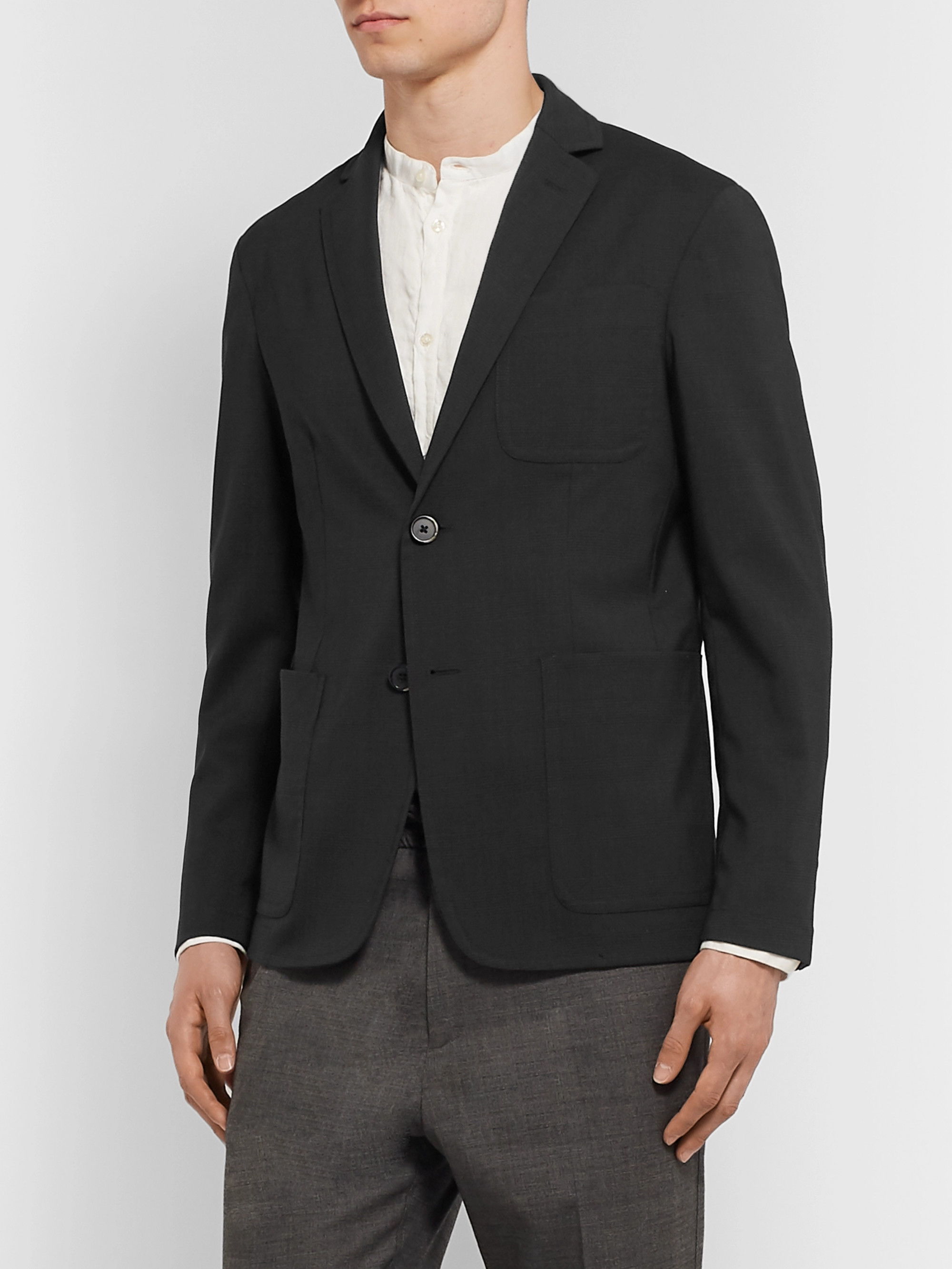 Barena Grey Prince of Wales Checked Stretch-Virgin Wool Suit Jacket