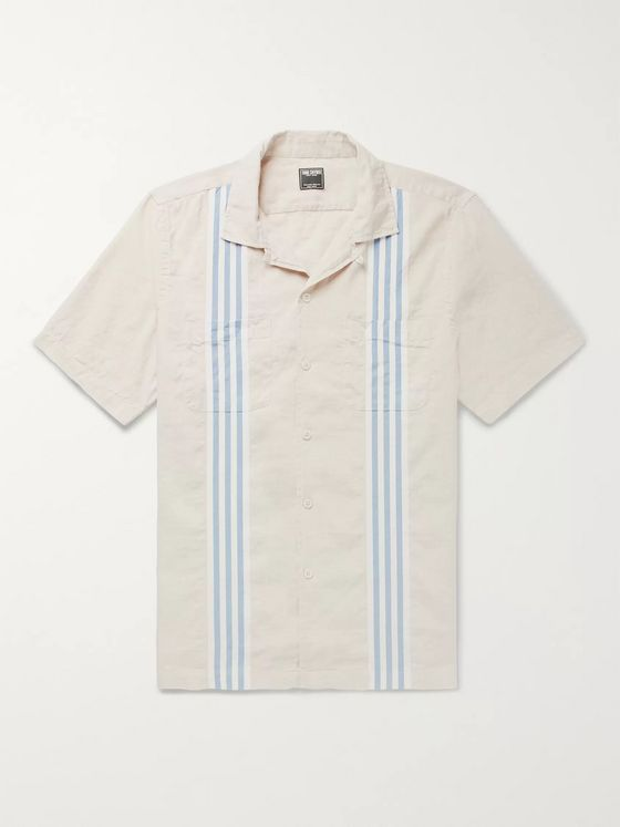 Todd Snyder Camp-Collar Striped Cotton and Linen-Blend Shirt