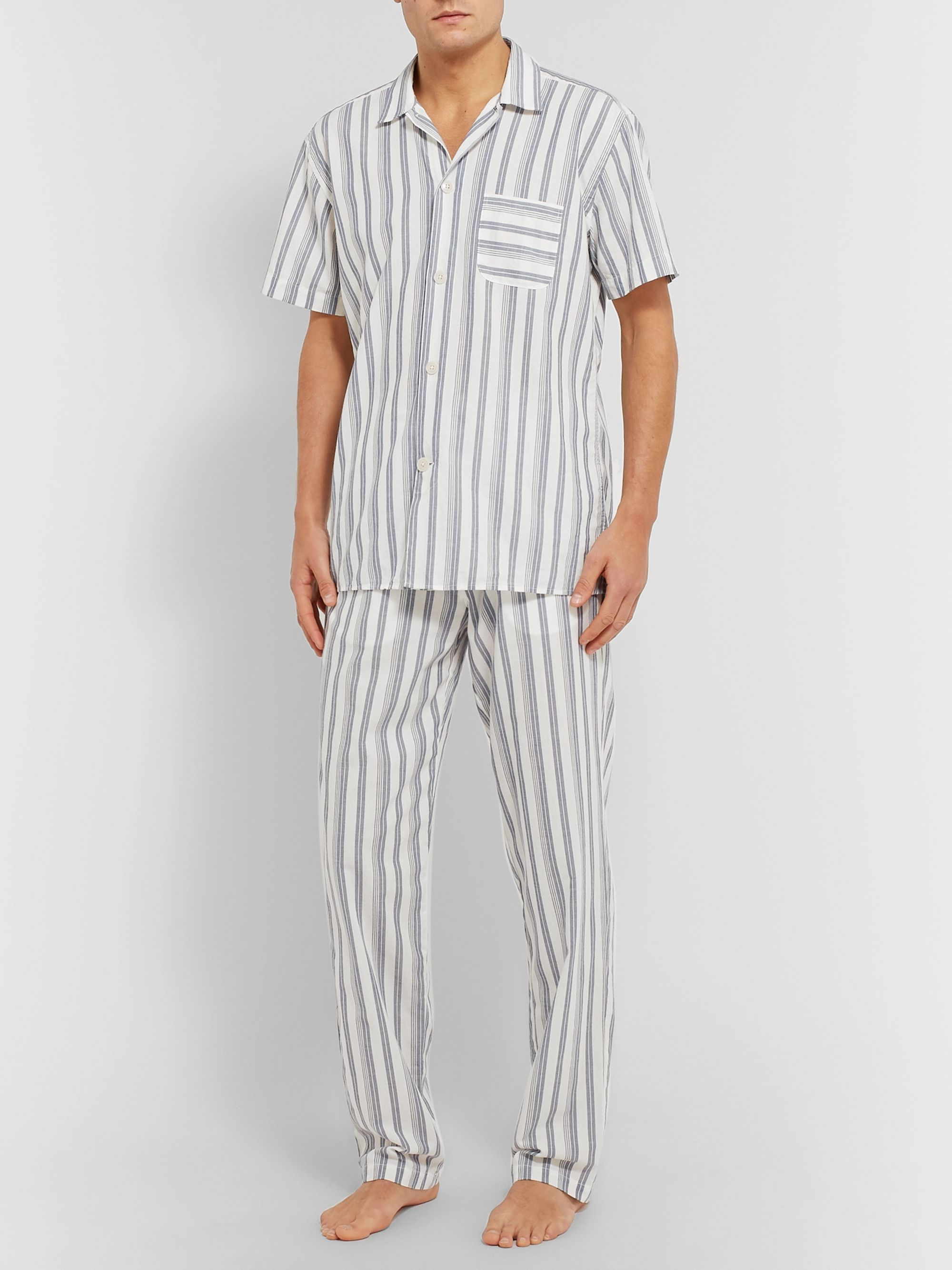 Oliver Spencer Loungewear Striped Organic Cotton Pyjama Trousers