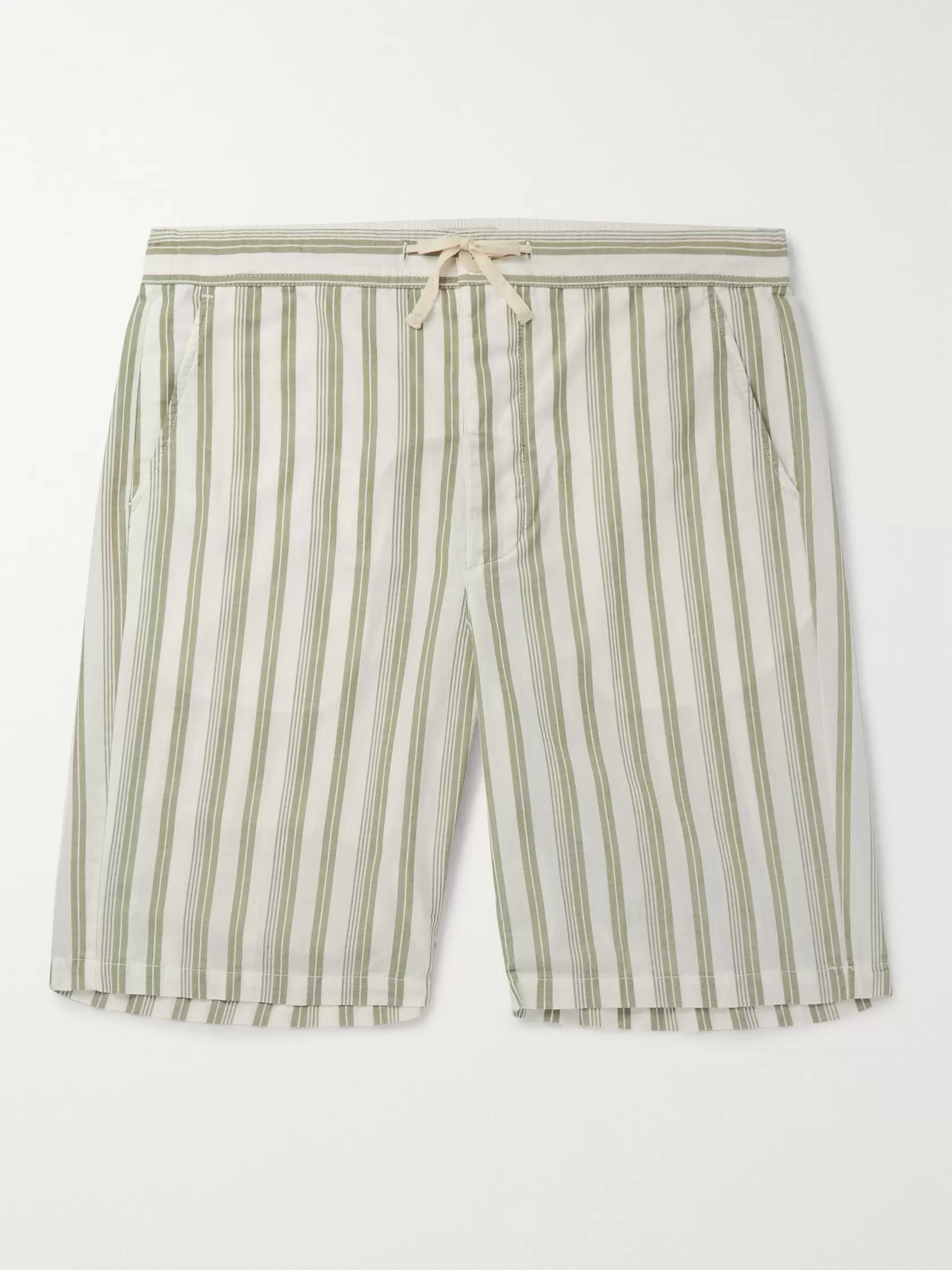 Oliver Spencer Loungewear Striped Organic Cotton Drawstring Pyjama Shorts