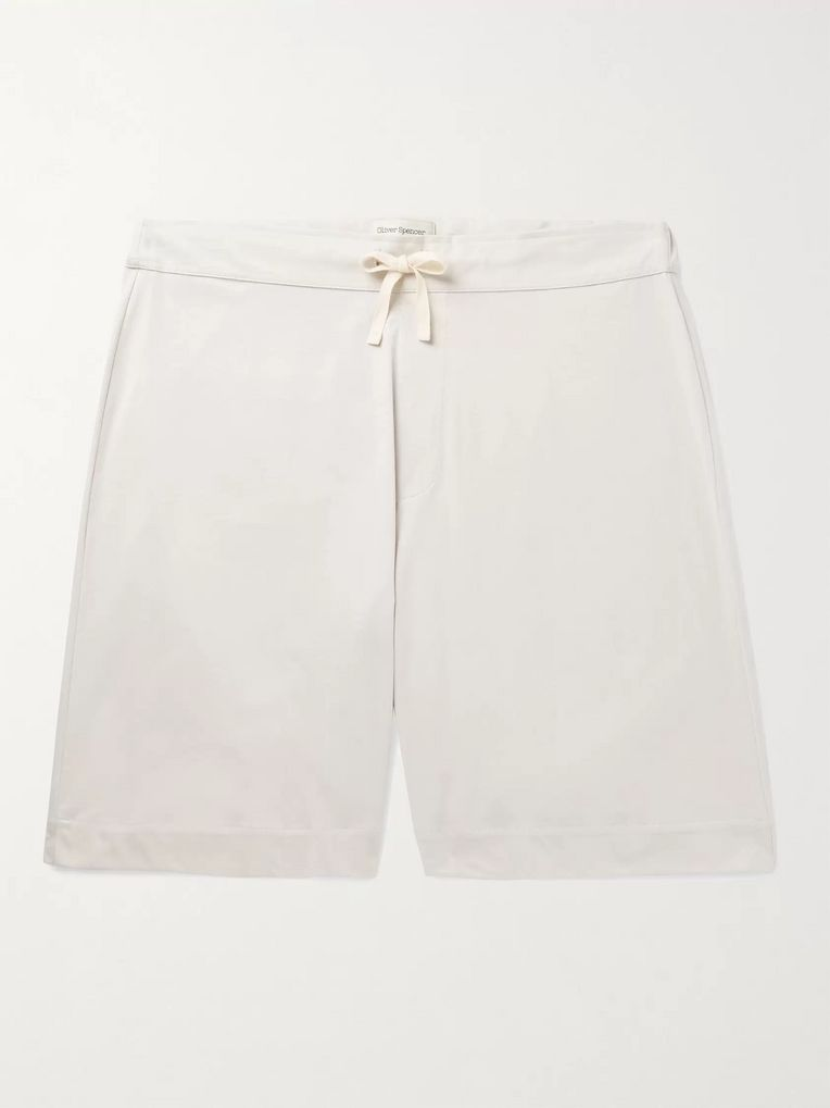 Oliver Spencer Loungewear York Wide-Leg Supima Cotton-Jersey Drawstring Shorts