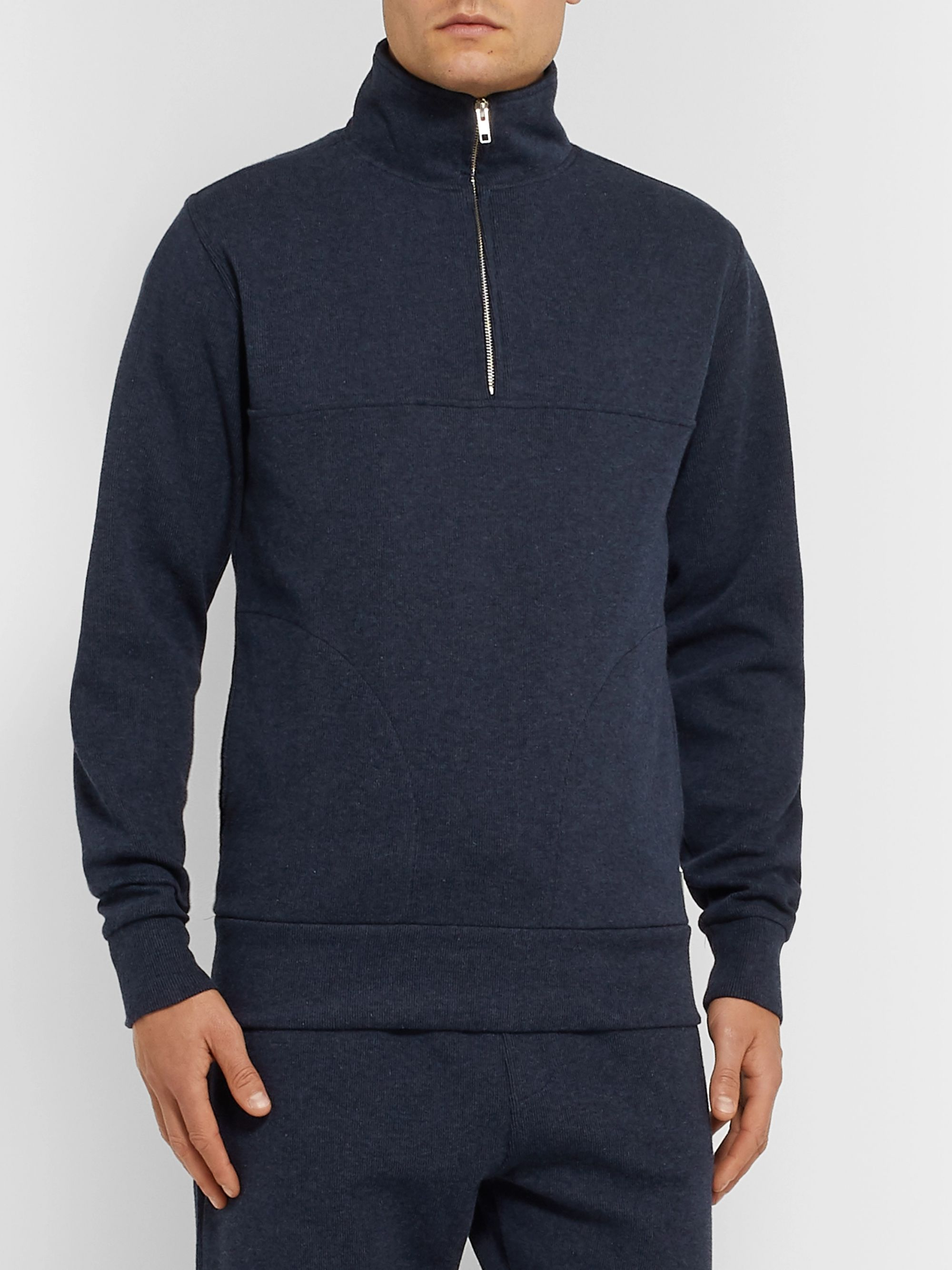 Oliver Spencer Loungewear Ribbed Cotton-Jersey Half-Zip Sweatshirt