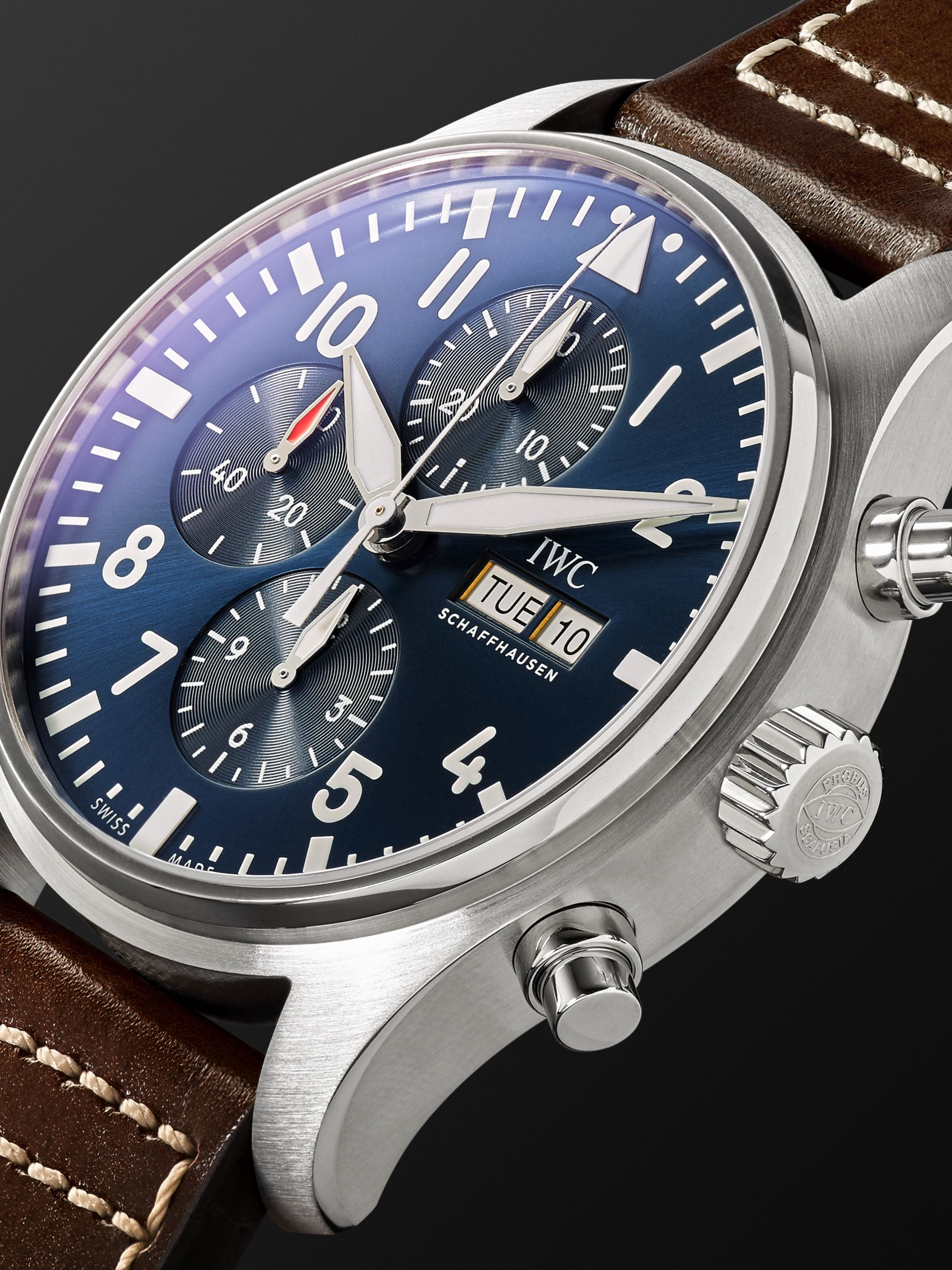 IWC SCHAFFHAUSEN IW377714 Pilot's Le Petit Prince Edition Chronograph 43mm Stainless Steel and Leather Watch, Ref. No. IW377714