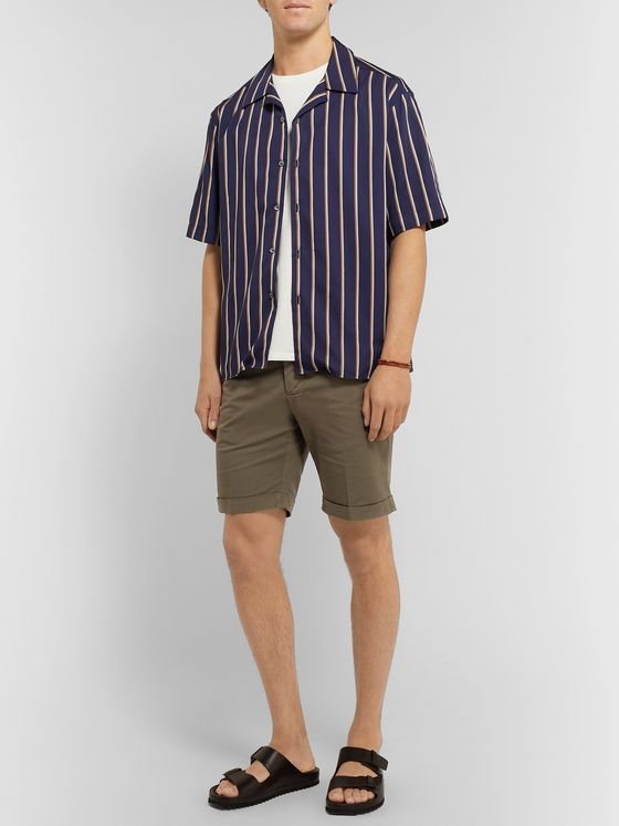 Thom Sweeney Slim-Fit Cotton-Blend Twill Shorts