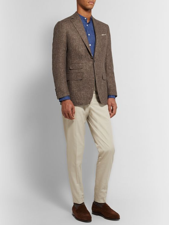 THOM SWEENEY Brown Slim-Fit Slub Wool-Blend Blazer