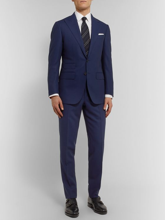 THOM SWEENEY Navy Slim-Fit Wool Suit Jacket