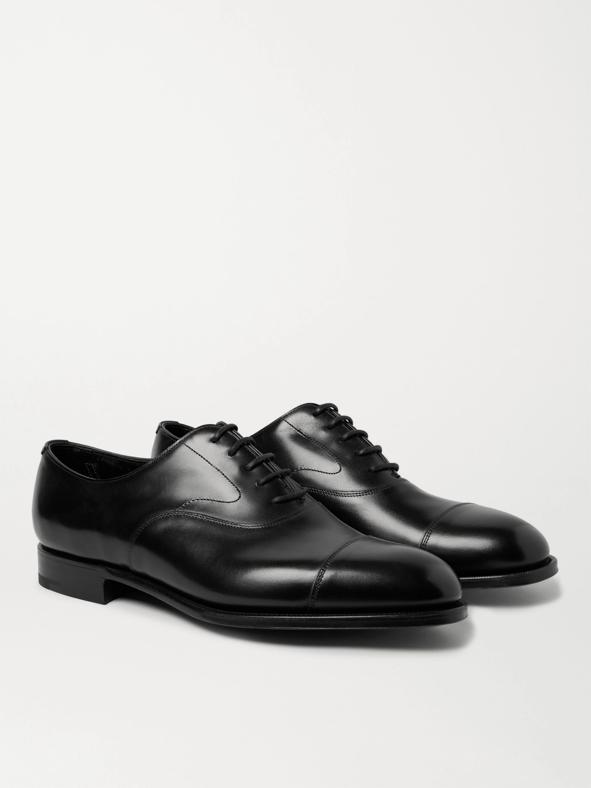 EDWARD GREEN Chelsea Burnished-Leather Oxford Shoes