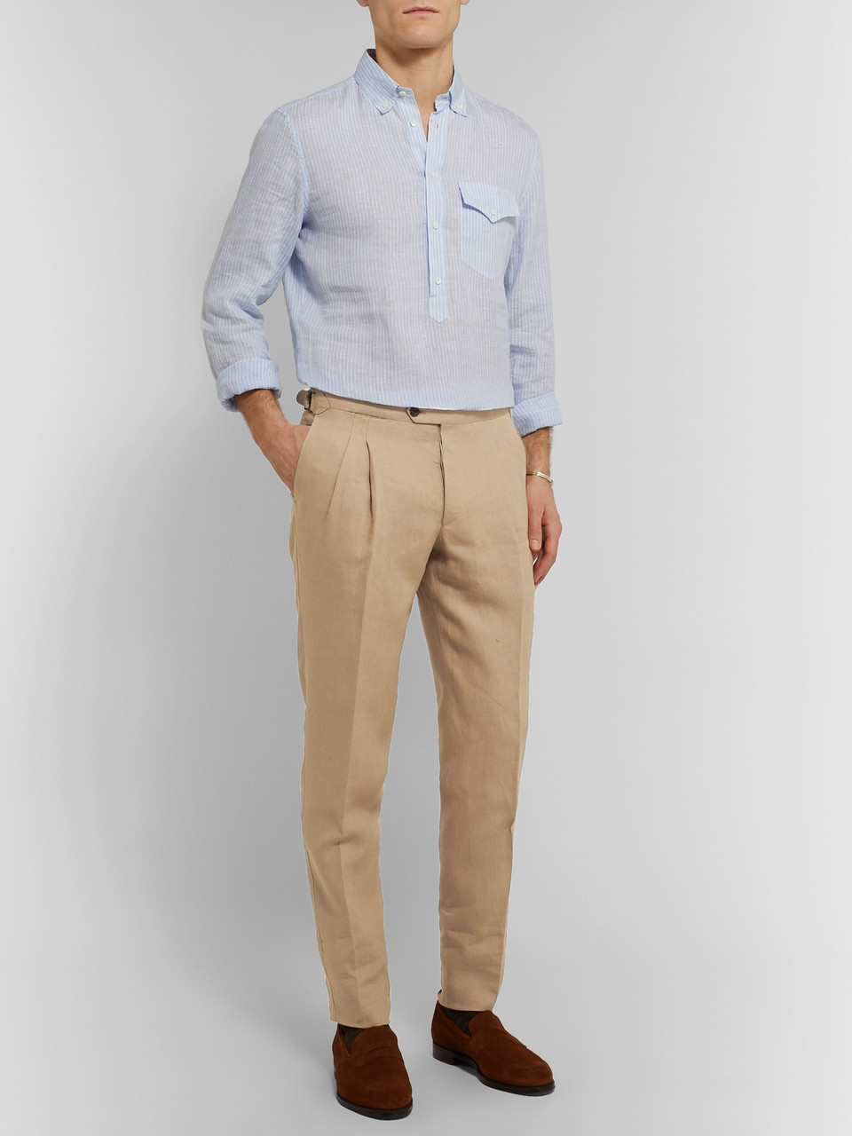 Thom Sweeney Tapered Pleated Linen Trousers